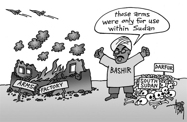 Arend Van Dam - politicalcartoons.com - Sudanese arms factory hit by air strike - English - Sudan, Bashir, arms factory, air strike, MidEast