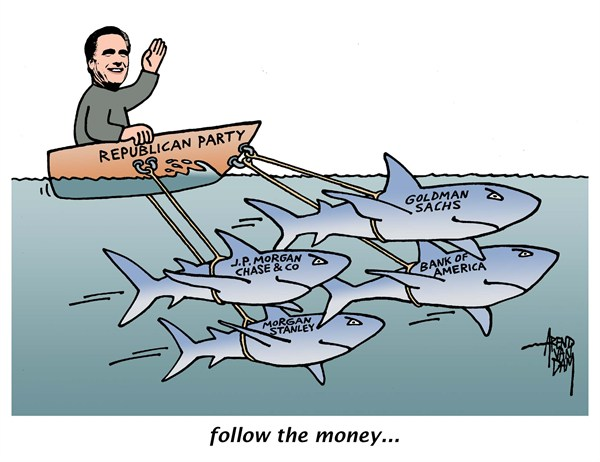 Arend Van Dam - politicalcartoons.com - follow the money - English - campaign funding, election sponsoring