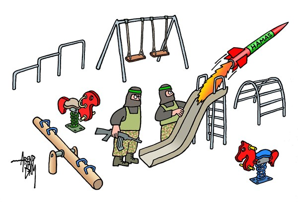 Arend Van Dam - politicalcartoons.com - playground - English - Hamas, Gaza, Palestinians, missiles, civilian victims, Israel, MidEast