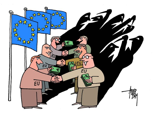 Arend Van Dam - politicalcartoons.com - European Shadow - English - Europe, Euro summit, euro, European leaders, European disagreement