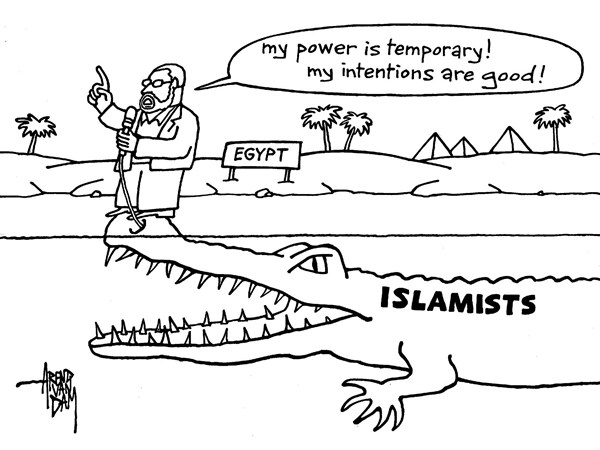 Arend Van Dam - politicalcartoons.com - Mohamed Morsi - English - Egypt, Morsi, Islamists, unchecked authority, decree, MidEast, Arab spring