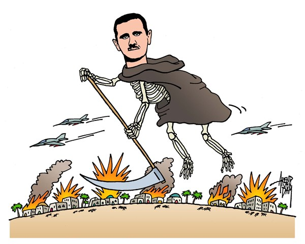 Arend Van Dam - politicalcartoons.com - Assad = Death - English - Assad, Syria, Mideast