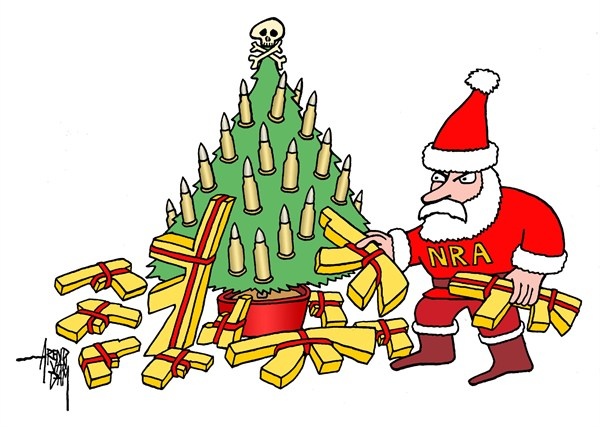 Arend Van Dam - politicalcartoons.com - NRA presents - English - NRA,arms,Newtown,Christmas, Christmas 2012, gun debate 2012, nra