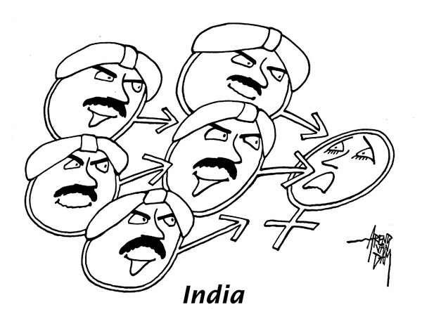 Arend Van Dam - politicalcartoons.com - India's rape culture - English - India, rape, womens rights