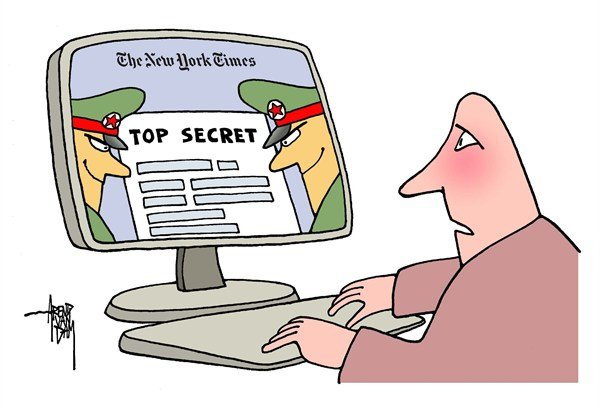 Arend Van Dam - politicalcartoons.com - China and NYTimes - English - China, cyberwar, NYTimes, New York Times, freedom of press, internet