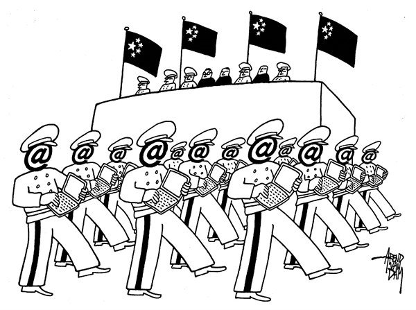 Arend Van Dam - politicalcartoons.com - cyber army - English - cyberwar, cyber warfare, Chinese hackers, hackers