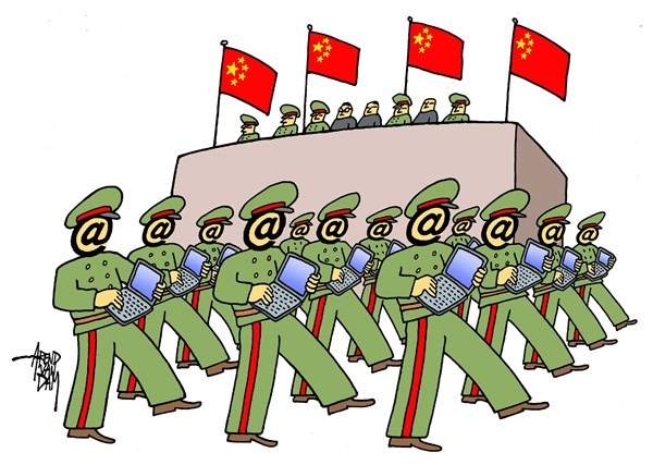 cyber army © Arend Van Dam,politicalcartoons.com,cyberwar, cyber warfare, Chinese hackers, hackers