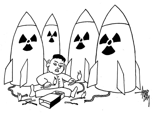 Arend Van Dam - politicalcartoons.com - playing with fire - English - North Korea, N-Korea