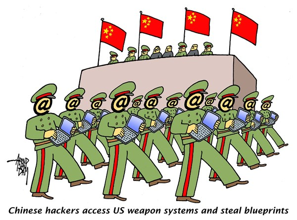 Arend Van Dam - politicalcartoons.com - Chinese Hackers Army - English - Chinese hackers, steal blueprints, cyberwar