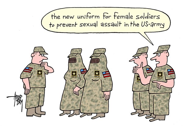 Arend Van Dam - politicalcartoons.com - women in US-army - English - sexual assault, US-army, sexual harassment