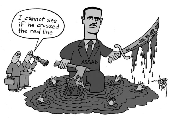 Arend Van Dam - politicalcartoons.com - red line - English - Assad, red line, chemical weapons