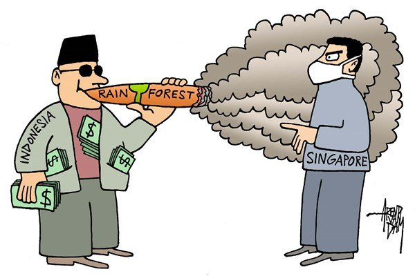 Arend Van Dam - politicalcartoons.com - Indonesian smoke - English - Indonesia, Singapore, Sumatra, rain forest, smoke, air pollution