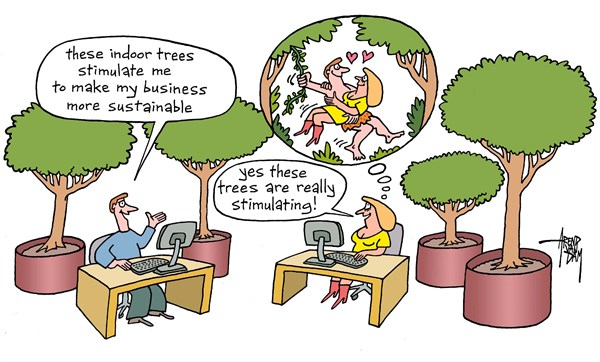 Arend Van Dam - politicalcartoons.com - sustainable office - English - sustainable office, sustainable business, indoor trees, indoor plants, Tarzan, Jane