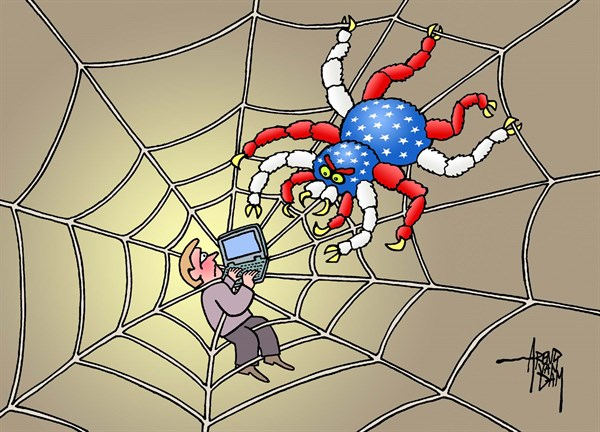 Arend Van Dam - politicalcartoons.com - Big Spider is watching you - English - Big Brother, internet spying, worldwide web, Snowden