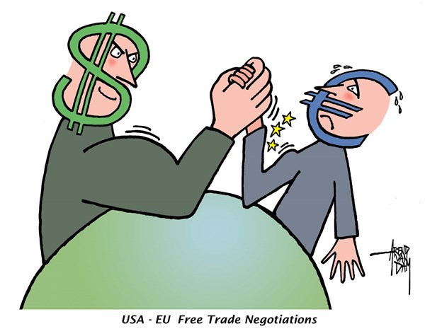 Arend Van Dam - politicalcartoons.com - Free Trade Negotiations - English - USA-EU, free trade, free trade talks, free trade agreement, free trade negotiations, international trade, dollar, euro