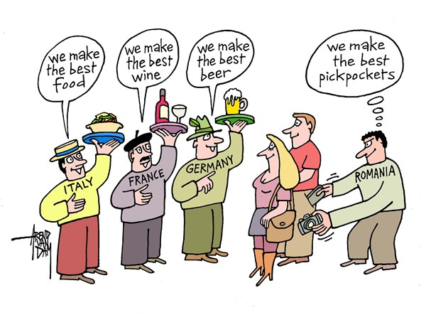 holiday in Europe © Arend Van Dam,politicalcartoons.com,pickpockets, Romania, Romanian pickpockets, holiday