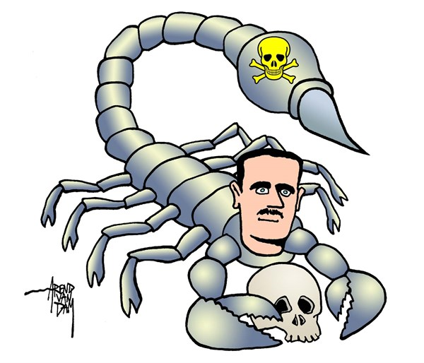 Arend Van Dam - politicalcartoons.com - deadly poison - English - Assad, Syria, chemical weapons