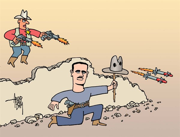 Arend Van Dam - politicalcartoons.com - sheriff Obama - English - Assad, Syria, sheriff, shooting, shootout, firefight, gun battle, cruise missiles