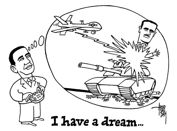 Arend Van Dam - politicalcartoons.com - drone dream - English - Assad, drones, war against Syria, drone, I have a dream