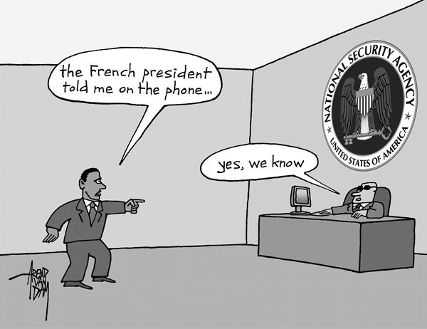 Arend Van Dam - politicalcartoons.com - phone surveillance - English - NSA, phone surveillance, spy practices, French president, Hollande