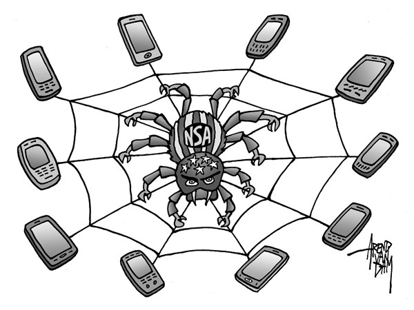 Arend Van Dam - politicalcartoons.com - American Spyder - English - NSA, phone surveillance, spying, privacy, telecom