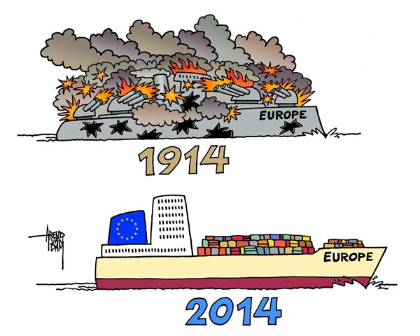 1914 2014 Europe © Arend Van Dam,politicalcartoons.com,1914-2014, great war, world war 1