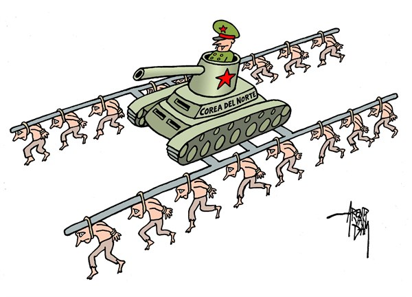Arend Van Dam - politicalcartoons.com - Corea del Norte - English - North Korea, Corea del Norte, UN, human rights, communism, military regime, dictatorship