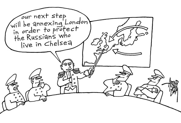Arend Van Dam - politicalcartoons.com - Russians in London - English - Putin, London, Chelsea, annexation