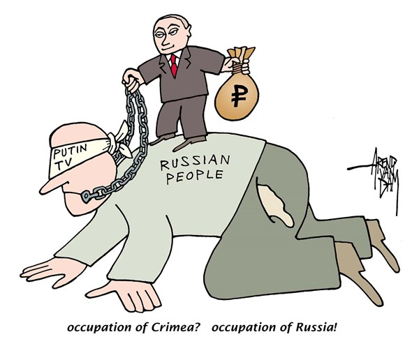 Arend Van Dam - politicalcartoons.com - occupation of Russia - English - Putin, Crimea, Ukraine, occupation, annexation