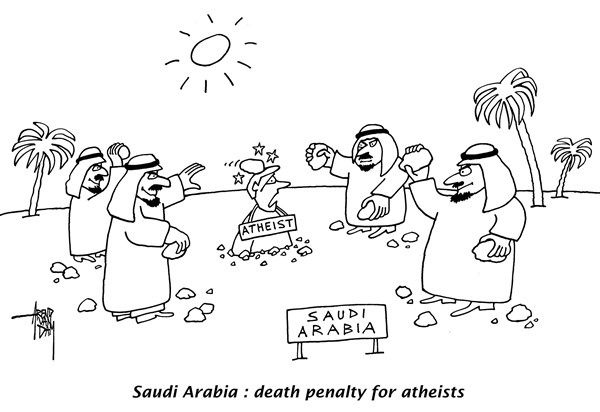 Arend Van Dam - politicalcartoons.com - law against atheists - English - Saudi Arabia, atheists, death penalty, human rights, radical islam, muslims