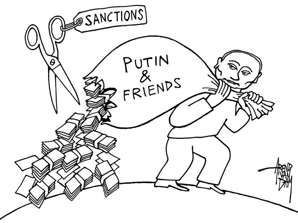 Arend Van Dam - politicalcartoons.com - sanctions against Putin - English - Putin, Ukraine, sanctions