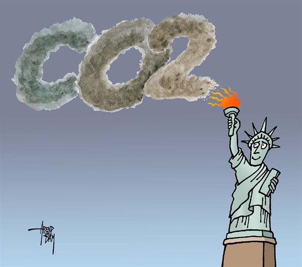 USA and CO2 © Arend Van Dam,politicalcartoons.com,CO2, air pollution, climate change