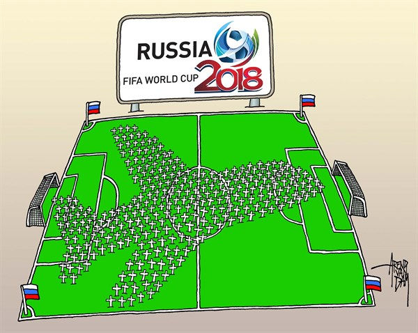 World Cup Russia © Arend Van Dam,politicalcartoons.com,World Cup 2018, Putin, WH17, fooball, Fifa