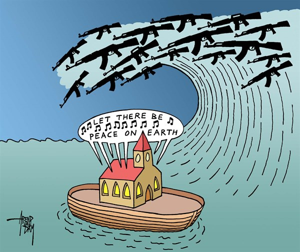 Peace on Earth © Arend Van Dam,politicalcartoons.com,peace, let there be peace on earth, arms, guns, weapons, tsunami, church, ark