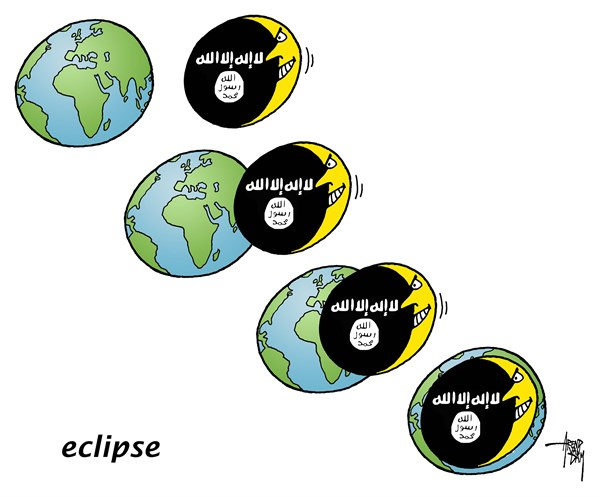 Eclipse © Arend Van Dam,politicalcartoons.com,Eclipse, IS, ISIS, Islamic State, moon, earth