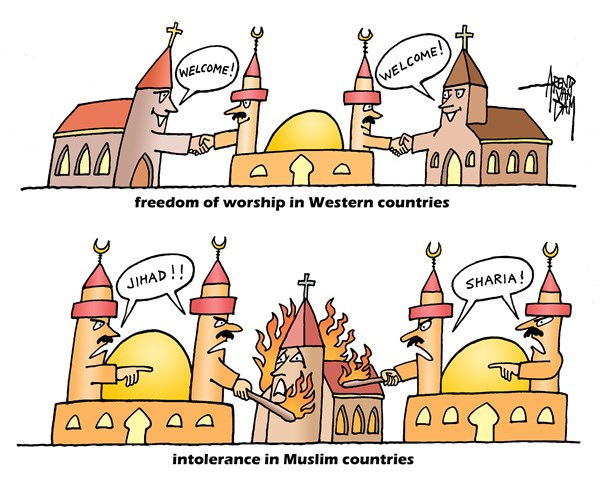 Arend Van Dam - politicalcartoons.com - freedom of worship - English - freedom of worship, religion, freedom, worship, Islam, Muslim countries, Western countries