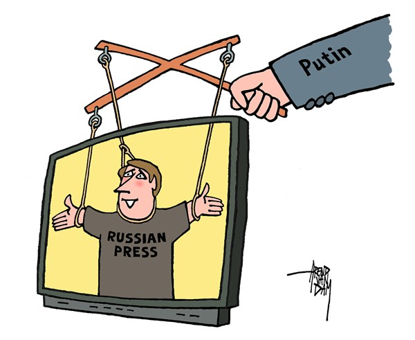 Arend Van Dam - politicalcartoons.com - Russian TV - English - Putin, Russian TV, Russian press, freedom of press, Kremlin-controlled, Kremlin, press
