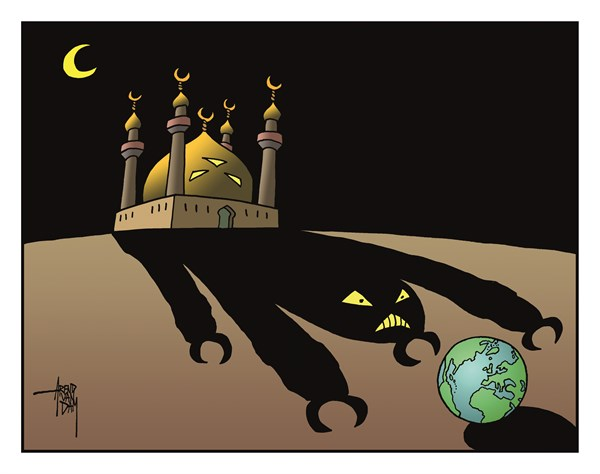 Arend Van Dam - politicalcartoons.com - Endangered Planet - English - endangered planet, Earth, world, radical Islam, Islam, Islamists, IS, ISIS, terrorists, Muslims, Muslim terrorists