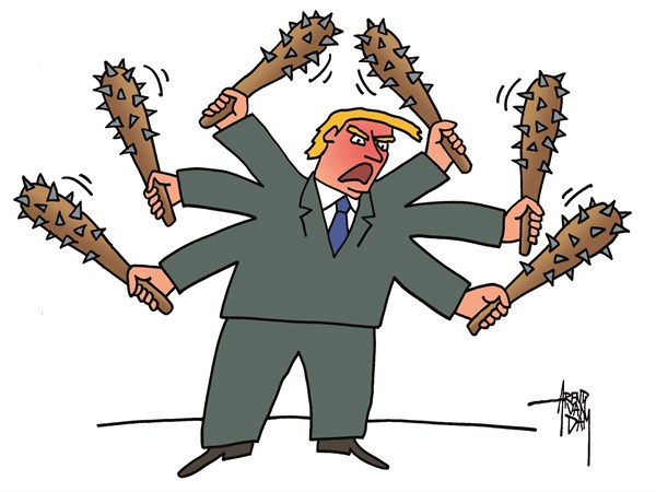 Arend Van Dam - politicalcartoons.com - wanting to hit - English - Trump, wanting to hit