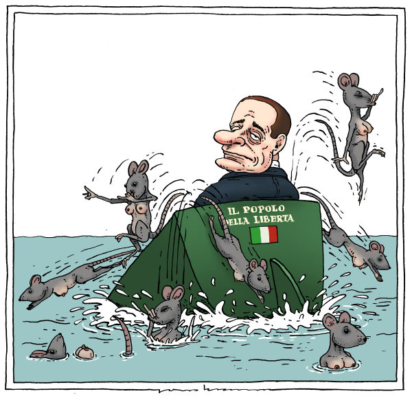 Joep Bertrams - The Netherlands - sinking ship - English - europe, debt crisis, italy, berlusconi