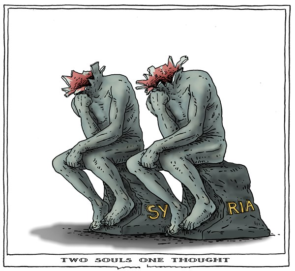 Joep Bertrams - The Netherlands - two souls one thought - English - syria, rodin, thinker, war,
