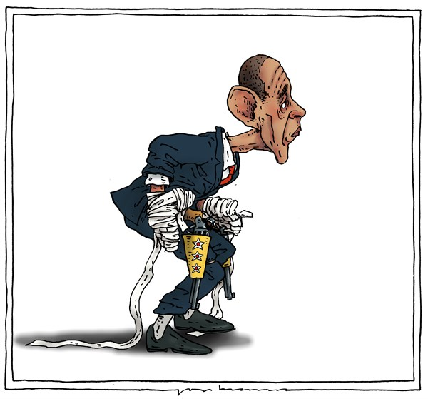 Joep Bertrams - The Netherlands - high noon - English - obama, syria, attack, military action, disabled, cowboy, high noon, confrontation