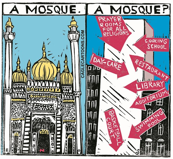 Randall Enos - Cagle Cartoons - Ground Zero Mosque COLOR - English - mosque, restaurant, library, day-care, new york, ground zero, 9-11, NYC, islam, towers