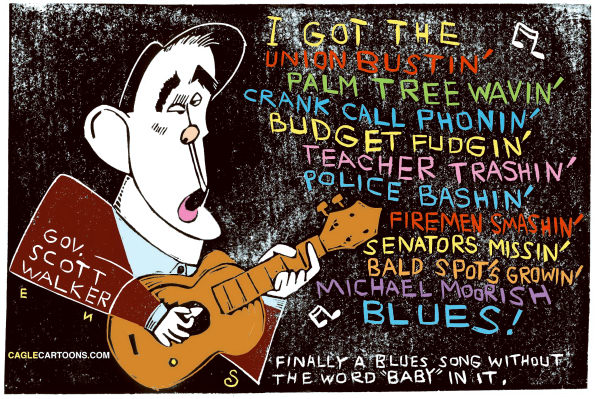 Randall Enos - Cagle Cartoons - The Governor Walker Blues Color - English - Governor Walker,scott walker,wisconsin budget problems,union busting,bargaining rights threatened