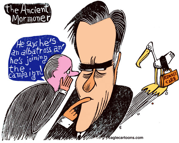 The Ancient Mormoner Color © Randall Enos,Cagle Cartoons,Mitt Romney,presidential campaign,Republican candidates,Romneycare, Mass health care plan,
