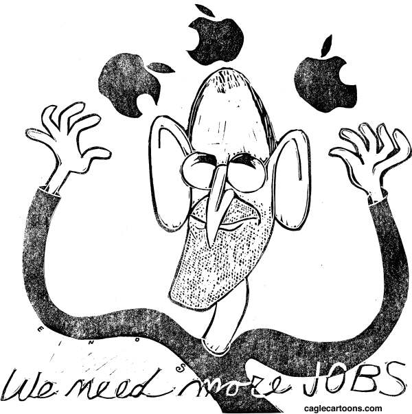 Randall Enos - Cagle Cartoons - The Passing of Steve Jobs - English - Steve Jobs,Apple
