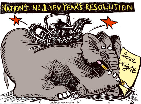 Randall Enos - Cagle Cartoons - New Year Resolution - English - new year resolution,gop,republicans,election2012,tea party