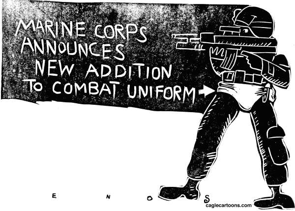 Randall Enos - Cagle Cartoons - New Marine Uniform - English - Marine urination scandal,marines,investigation into marine behavior, military, war, afghanistan