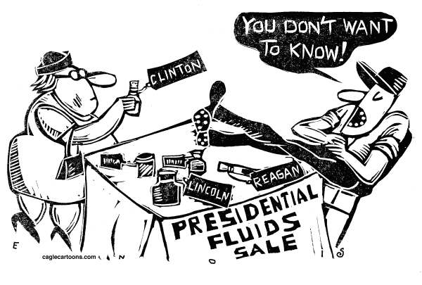 Randall Enos - Cagle Cartoons - Presidential Fluids - English - Reagans blood on auction