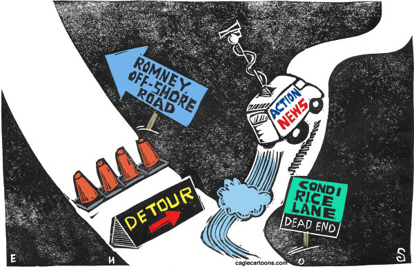 Randall Enos - Cagle Cartoons - Condi Rice Detour - English - Condoleeza Rice,Romney running mate,romneys off-shore accounts,romneys money,2012 campaign,republican presidential campaign